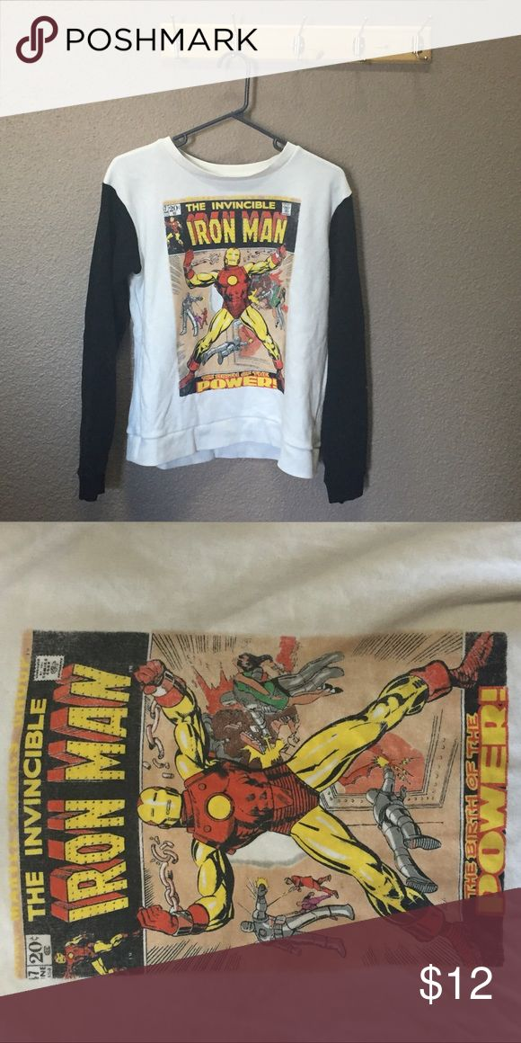 """Iron Man Comic Book Cover Pullover Comic Book Cover pullover with black and white baseball style sleeves. Marvel Hero Invincible Iron Man """"The Birth of the Power"""" cover. Get a little closer to Robert Downey, Jr. 😉 Runs small! Marvel Tops Sweatshirts & Hoodies"""