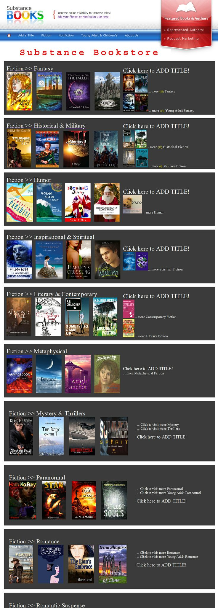Stop by to visit the Substance Bookstore. http://www.onlinebookpublicity.com/books.html