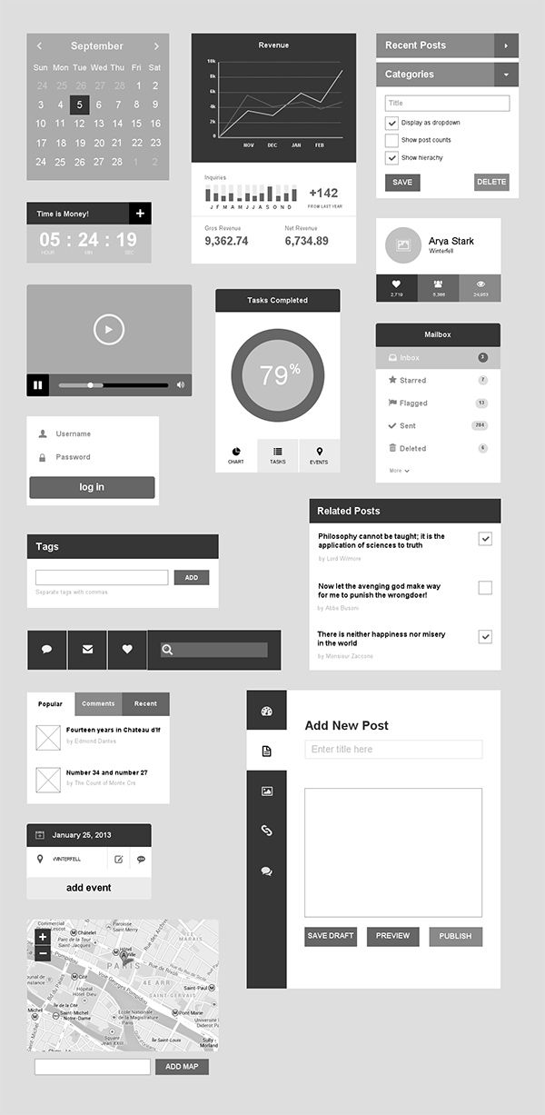 UXPin - Flat UI elements preview