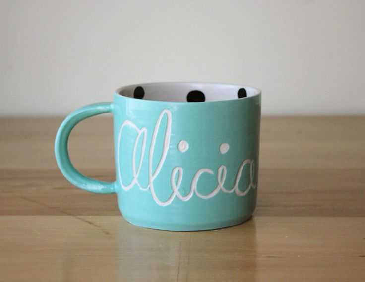 Personalized Name Mug with Polka Dot Interior - choose a colour by Beardbangs on Etsy https://www.etsy.com/ca/listing/244561290/personalized-name-mug-with-polka-dot