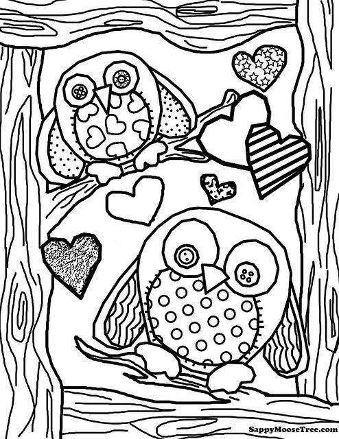 just finished this new coloring page enjoy owls and hearts - Cute Owl Printable Coloring Pages