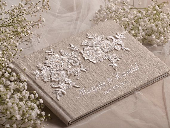 Wedding Guest Book, Guestbook, Lace, Shabby Chic Natural Linen Lace, custom colors , embroidery names