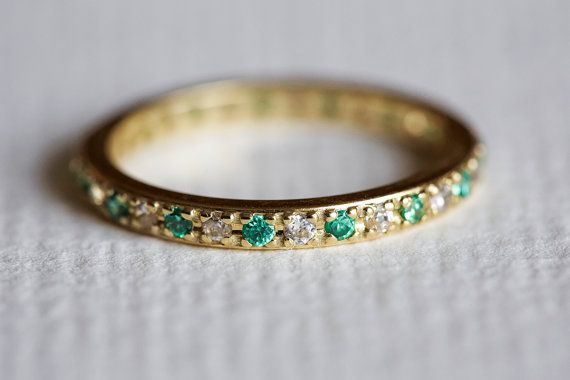 Hey, I found this really awesome Etsy listing at https://www.etsy.com/listing/193424994/emerald-engagement-ring-eternity-ring