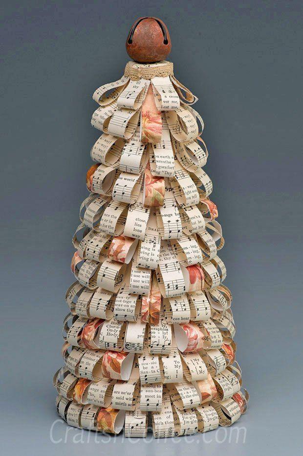 Easy diy paper loop christmas cone craft craftsncoff for Cardboard cones for crafts
