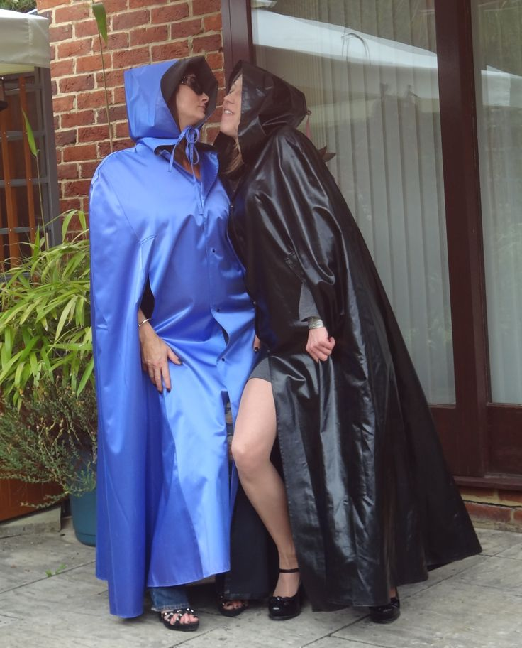 Lovely ladies enjoying their rubberised satin capes