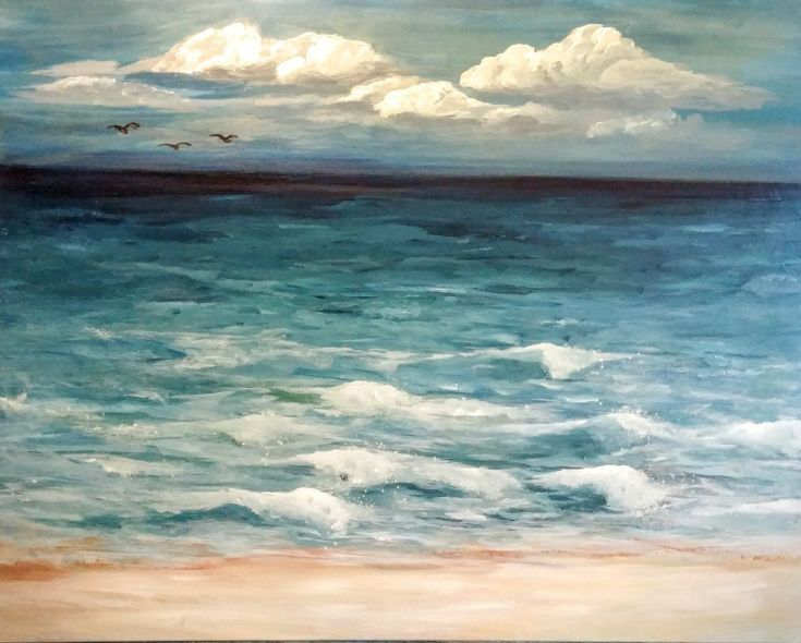 """Buy One Fine Day // Seascape Painting // 24x30"""" Canvas, Acrylic painting by Jessica Sanders on Artfinder. Discover thousands of other original paintings, prints, sculptures and photography from independent artists."""