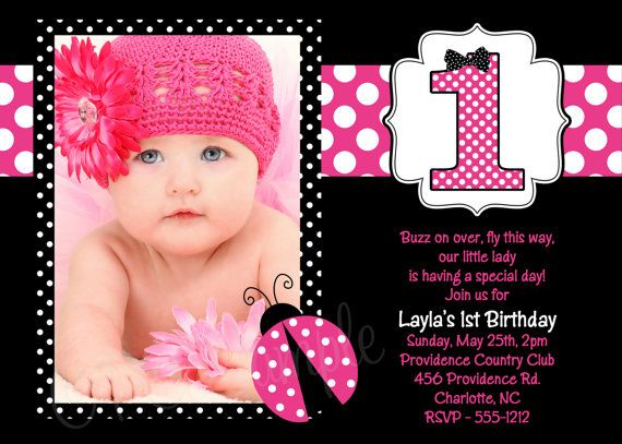 Pink Ladybug Birthday Invitation Pink by CutiesTieDyeBoutique, $15.00