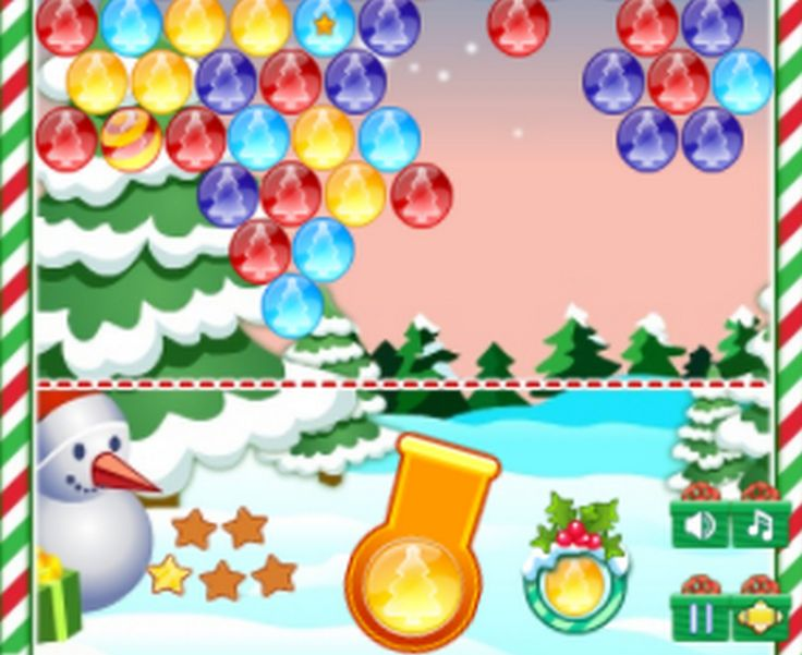 Shoot bubbles up and create a group of 3 more of the same Christmas Bubbles.