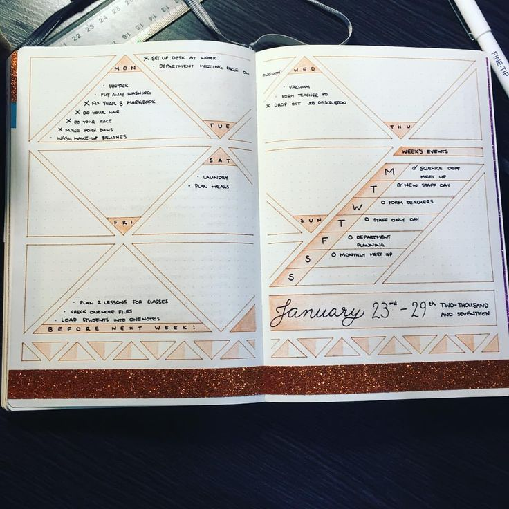 "58 Likes, 6 Comments - JashiiCorrin (@jashiicorrin) on Instagram: ""Love the spread, no idea what I'ma do with the rest of these triangles though  #bujo #staedtler…"""