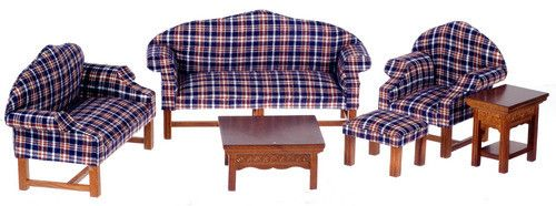 Plaid brown plaid plaid living set walnut 6pc room set living room