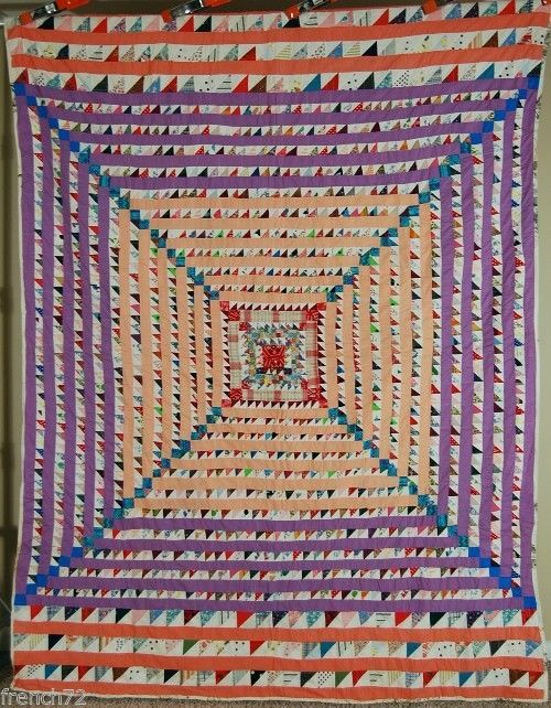 Amazing Vintage Trip Around The World Antique Quilt Small