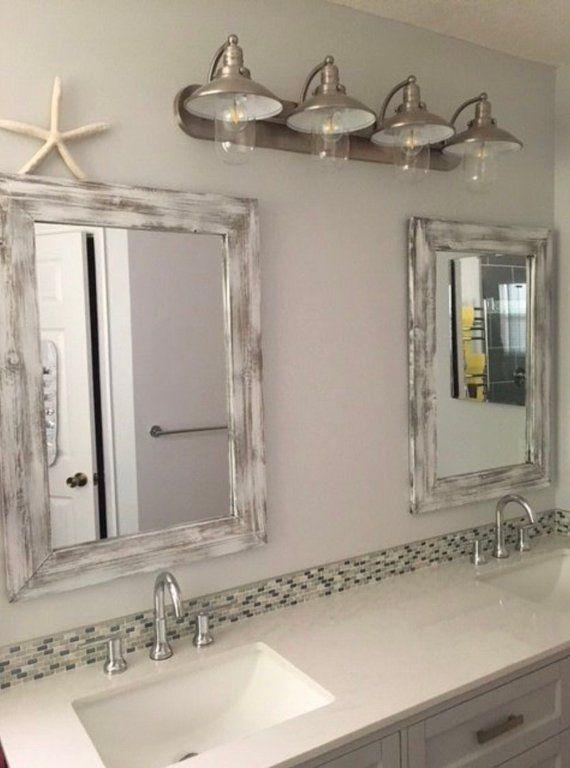Whitewash Mirror Wood Frame Mirror Rustic Wood Mirror Bathroom