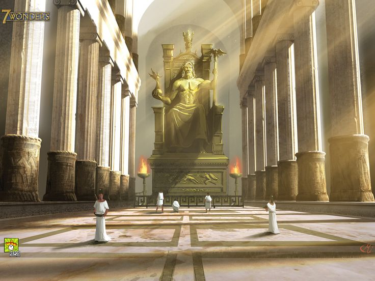 A modern representation of the Statue of Zeus at Olympia, one of the Seven Wonders of the World. It stood 43 feet tall and was ornamented with gold, ivory, ebony, and precious stones.