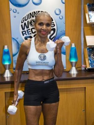 `Ernestine Shepherd, 74, of Baltimore, United States has been crowned by the Guinness Book of World Records as the oldest competitive female bodybuilder ever.She told the Washington Post: 'Age is nothing but a number'.Ms Shepherd has impeccably toned 'six-pack' abs that are the marvel of her Baltimore fitness centre. Her husband of 54 years, Collin Shepherd, says he 'has trouble keeping guys away from her'. The Shepherds live in Baltimore with their...