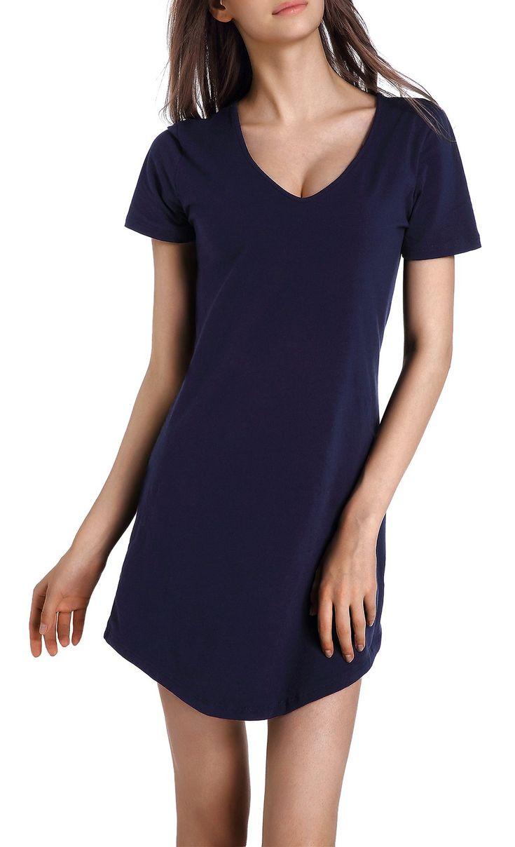 Chamllymers Women's Nightgown Cotton Nightwear Loose Short Sleeve Sleepwear Navy XL
