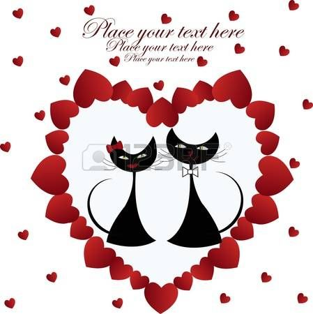 Zamilovaný černé kočky v srdci na bílém pozadí photo