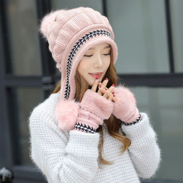 Winter Knitted Wool Hat and Scarf for Kids Boys Girls Pompom Ball Windproof Warm