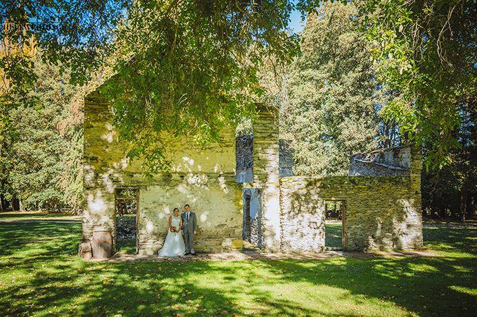 Bride & Groom marry at Thurlby domain wedding, autumn Queenstown