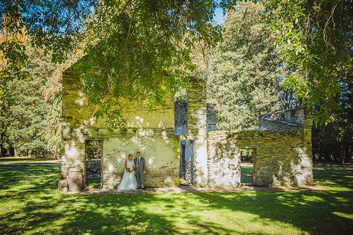 Bride & Groom marry at Thurlby domain wedding, autumn Queenstown