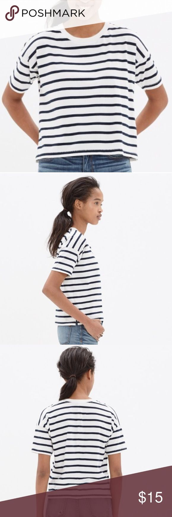 Madewell crop tee in boating stripe White and navy striped cropped tee shirt BH Madewell. Size medium. Madewell Tops Tees - Short Sleeve