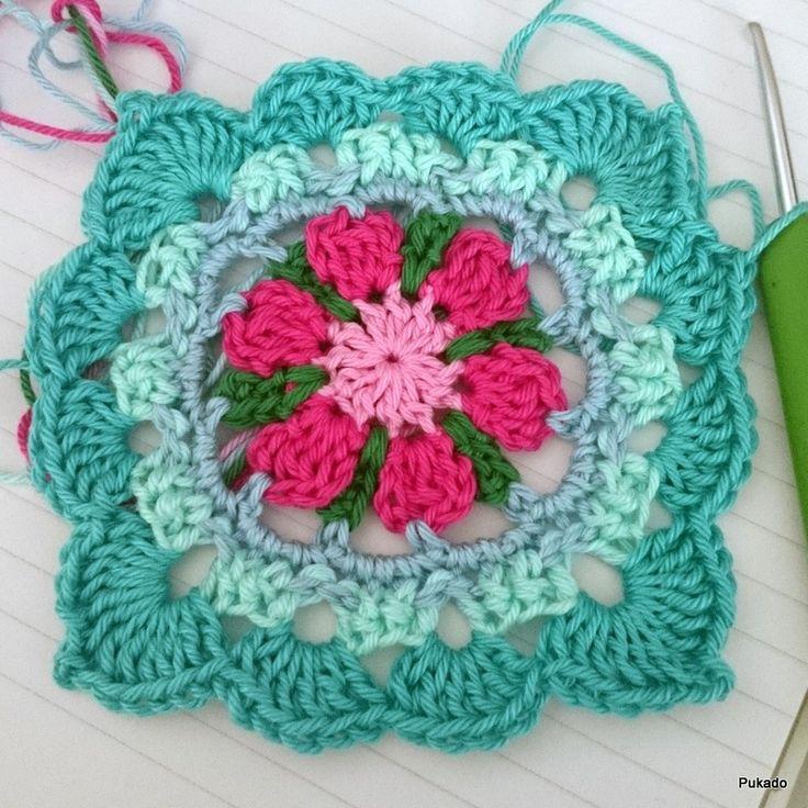 Pukado By Patricia Stuart: Crochet Mood Blanket 2014 - October Square - Free Pattern ༺✿ƬⱤღ✿༻