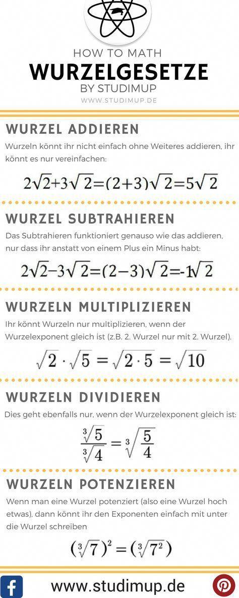 Wurzelgesetze im Mathe Spickzettel von Studimup. Einfach Mathe ...