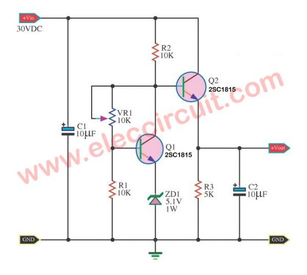 0-30V 0-5A regulated variable power supply circuit - ElecCircuit com