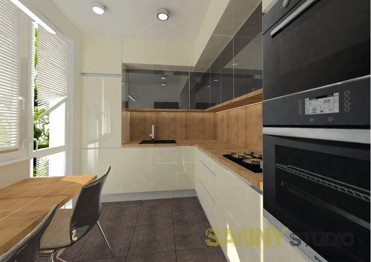 Návrh kuchynskej linky do 2,5 izbového bytu na Račianskom mýte, Bratislava.