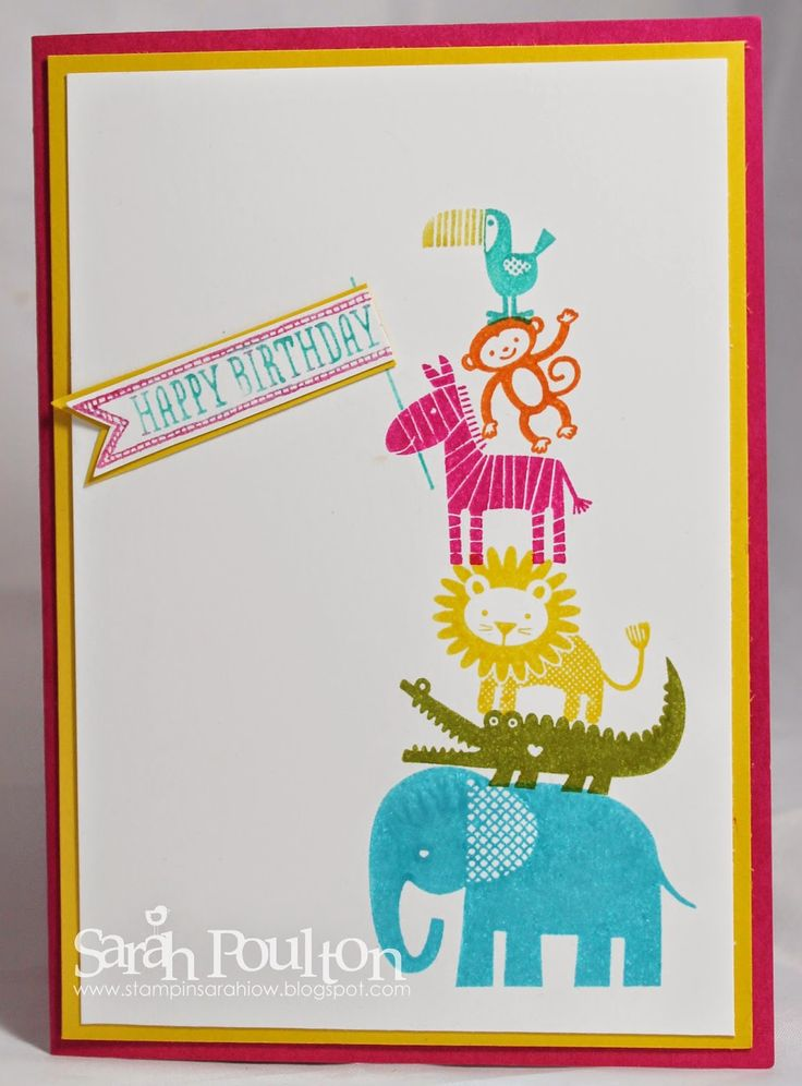 Order Stampin' Up! products throughmyonline store: www.stampinsarah.stampinup.net. Stampin' Up! Zoo Babies birthday card.