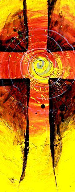 """Eternal Love"" (2012) Abstract Cross Art from J. Vincent Scarpace, Artist    http://www.ipaintfish.com/2012_originals/currentworksforsale_eternallove_page.htm    $75."