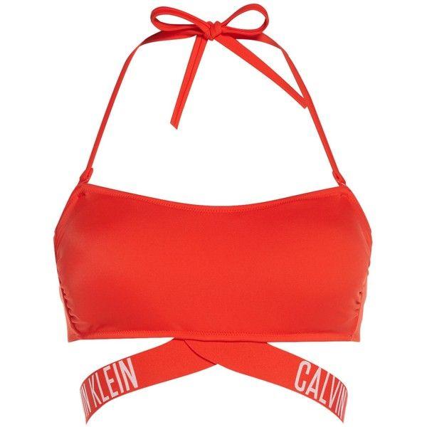 Calvin Klein Intense power bandeau bikini top ($60) ❤ liked on Polyvore featuring swimwear, bikinis, bikini tops, red, women, tankini tops, swimsuit tops, bandeau bikini tops, red bandeau top and red bikini