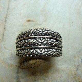 Anillo de plata ancho banda plata oxidada anillo de plata