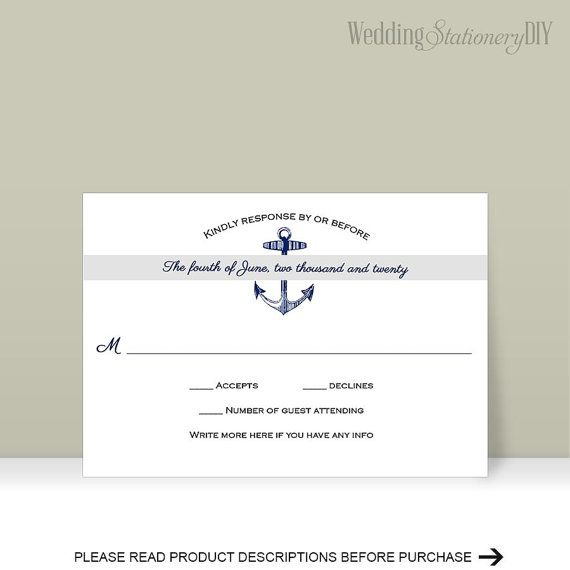 Nautical RSVP cards Printable Wedding RSVP by WeddingstationeryDIY