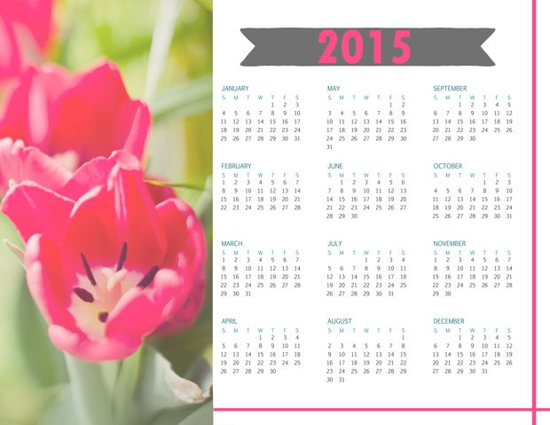Free Print Calendar 2015 - to use for yourself or print and gift. (goodness. can't believe we are talking about 2015!! it's coming SO fast!)