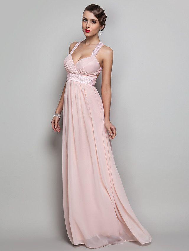 Vestito - Rosa Perla Sera/Graduazione/Ballo Militare Tubino V A Terra Chiffon Taglie grandi - USD $ 99.99