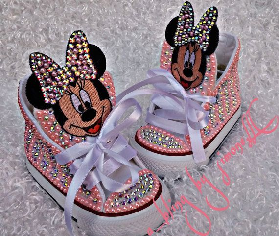 Custom Minnie Mouse Sneakers strassed in pearls and glass stones. Truly unique. The bigger sizes are a bit more in price so be sure to send a