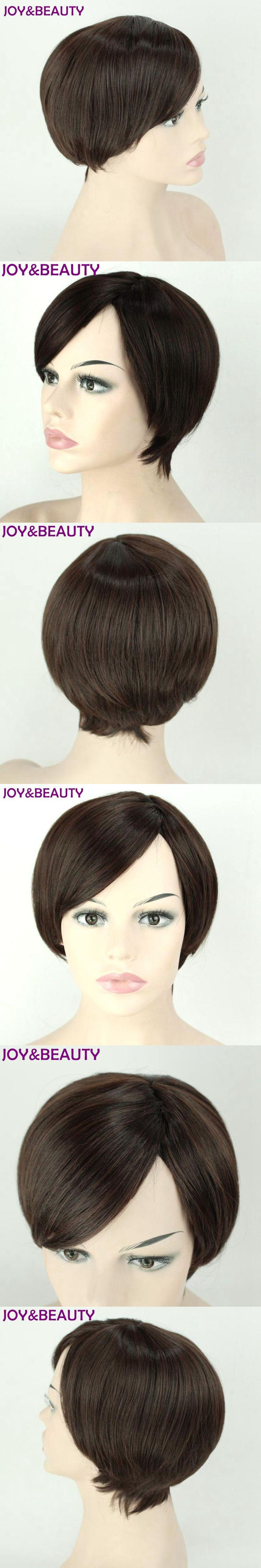 JOY&BEAUTY Short Straight Synthetic Side Parting Bob Wigs Inclined bang High Temperature Fiber Brown Color Women Wig 12inch