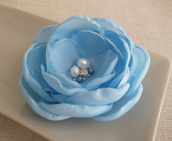 Sky Pale Blue Fabric Flower in handmade Bridal hair by ZBaccessory, $19.00