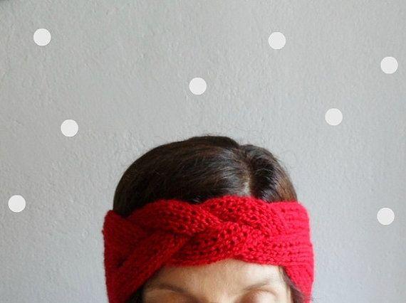 Knit Headband Braided Headband Red Headband Ear by fizzaccessory