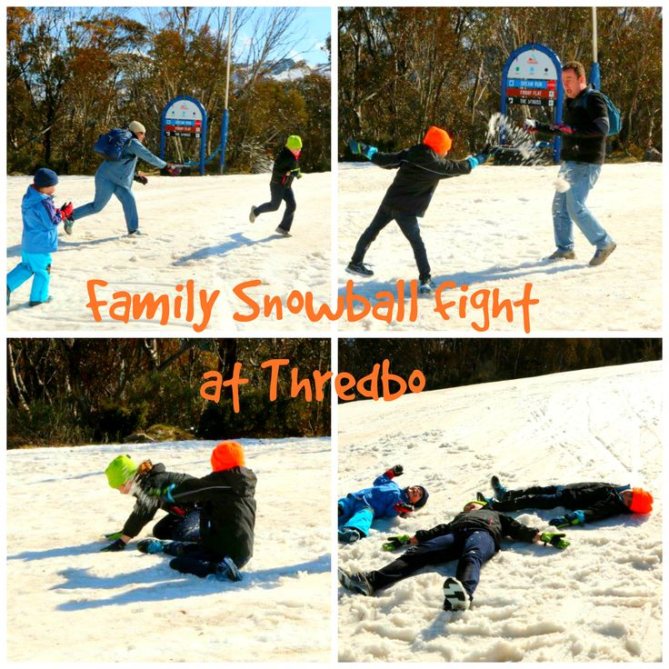 Family Snowball Fight at Thredbo in the Snowy Mountains Australia