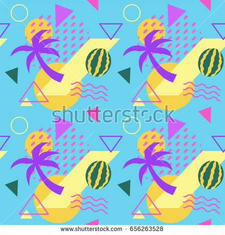 Seamless color summer fruit patterns with watermelons and palms, geometric shapes, fashion vector backgrounds