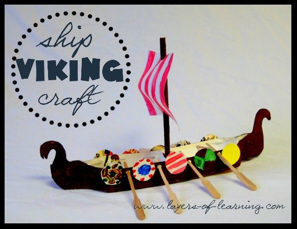 Viking Ship craft made from milk cartons