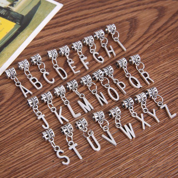 Yeni 26 adet karışık metal takılar gümüş kaplama mektubu alfabe büyük delik boncuk kolye avrupa bilezik takı el yapımı 2801 uyar