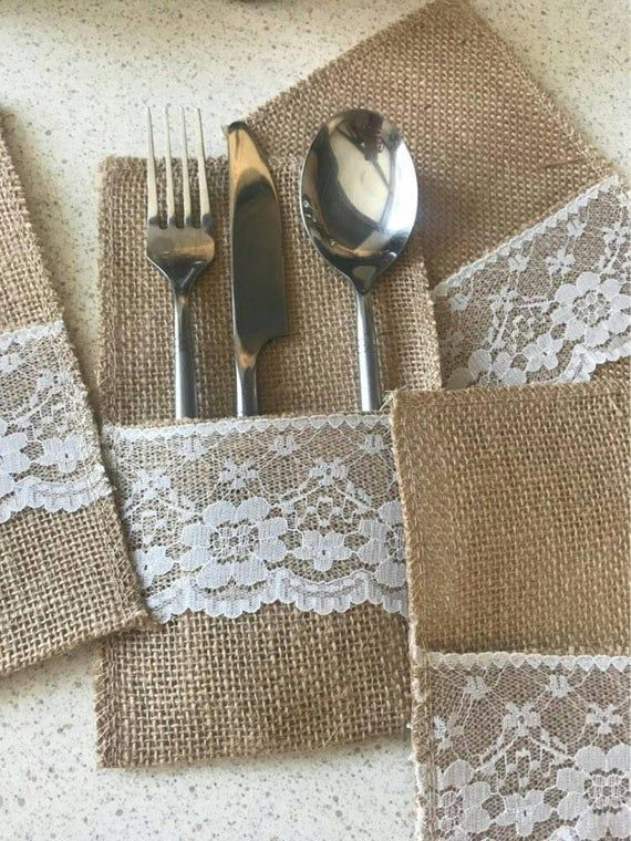 Burlap Cutlery Bags For Wedding Table Decor Hessian Cutlery