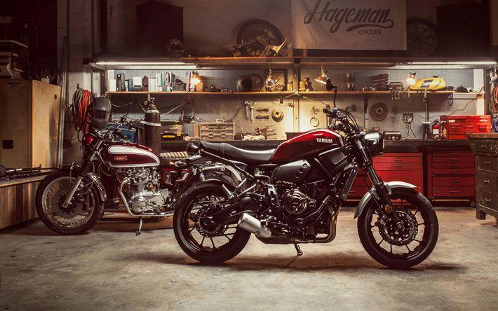 Download imagens A Yamaha esporte xsr700, 2018, A Yamaha XS650, 1970, legal motocicletas, garagem, evolução, Japonês motocicletas