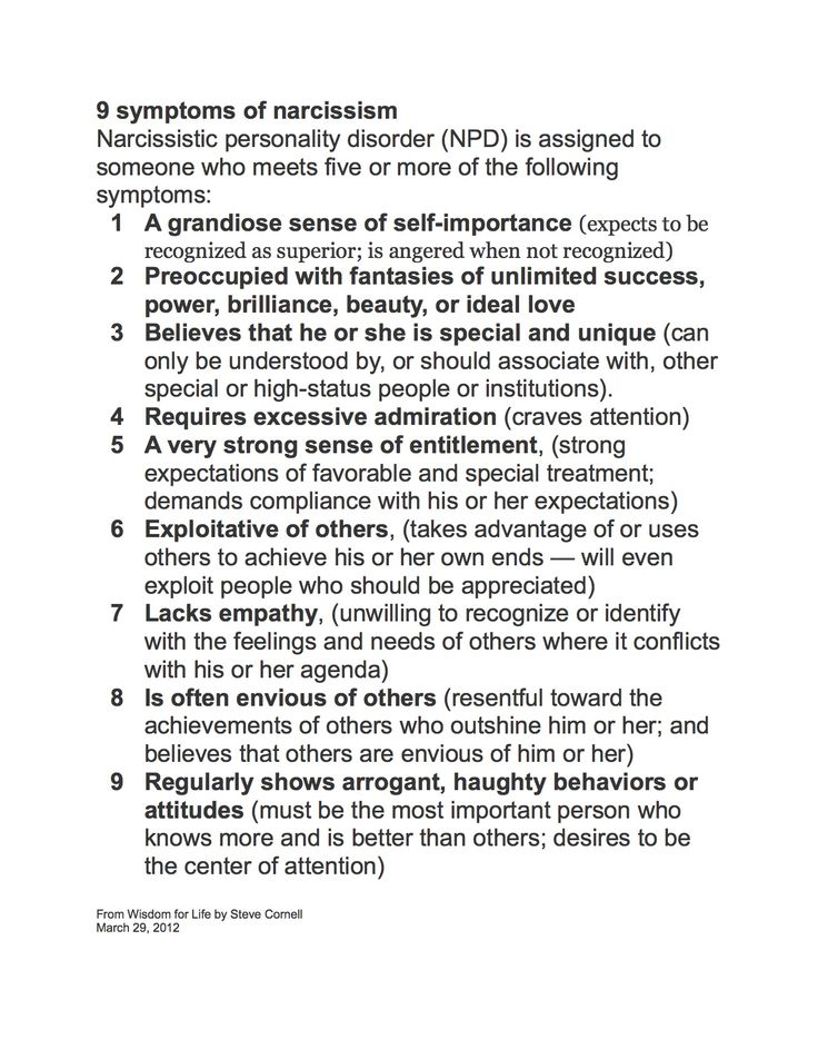 9 Symptoms of Narcissism - I know someone who is the epitome of this list, especially #s 8 & 9. Such a sad existence. RM