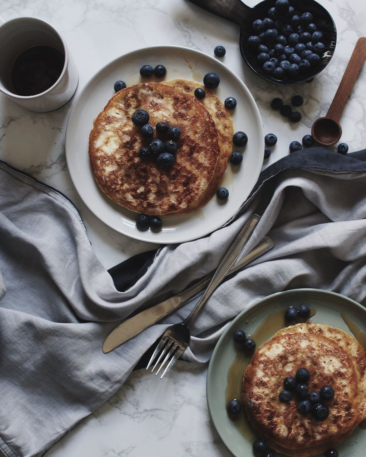 Morning's made better - blueberry pancakes served on Royal Doulton's Barber and Osgerby Olio collection