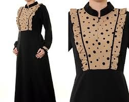 Black with polka dot accent abaya