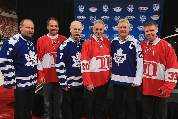 Wendel Clark, Joey Kocur, Lanny McDonald, Mickey Redmond, Darryl Sittler, and Kris Draper model Alumni game jerseys for the 2014 Winter Classic.