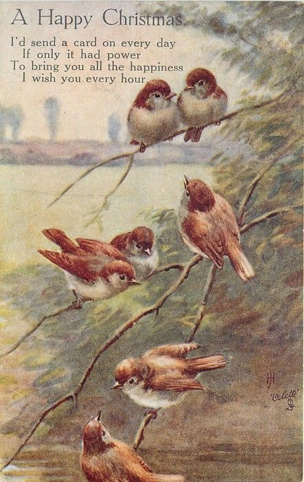 (seven nightingales on branch)